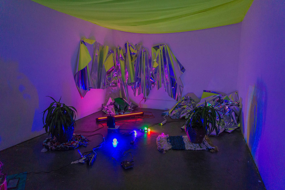 Everybody has fever  (installation view), 2017, projection on live plants, mylar weavings and hangings, and LED bulbs, dimensions variable.