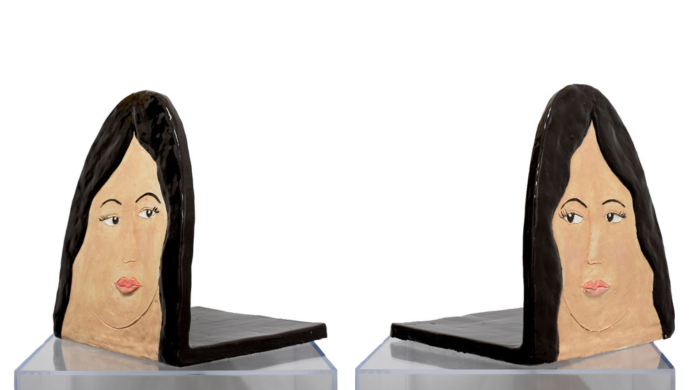 Sisters of Mercy , 2017, Glazed ceramic bookends, 15 x 12 x 12 inches each