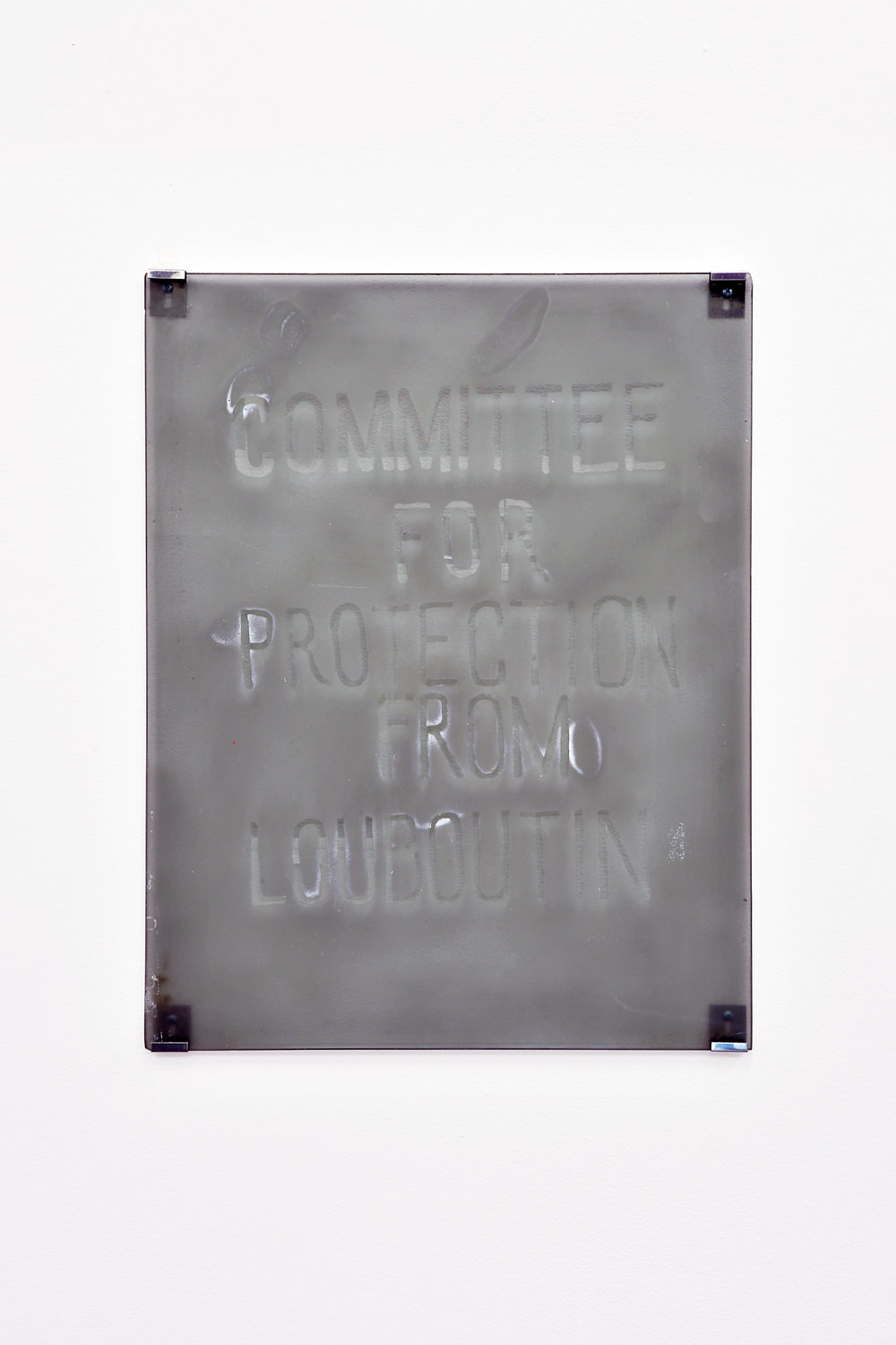 Monstratsiya (committee for protection from Louboutin),  2018, Translucent spray paint and glass, 21.25 x 14.75 inches