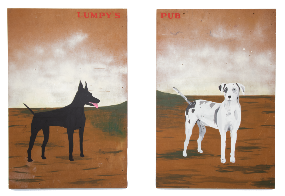 Lumpy's Pub,  2018, Acrylic and house paint on wood panel diptych, Each panel 48 x 31.5 inches