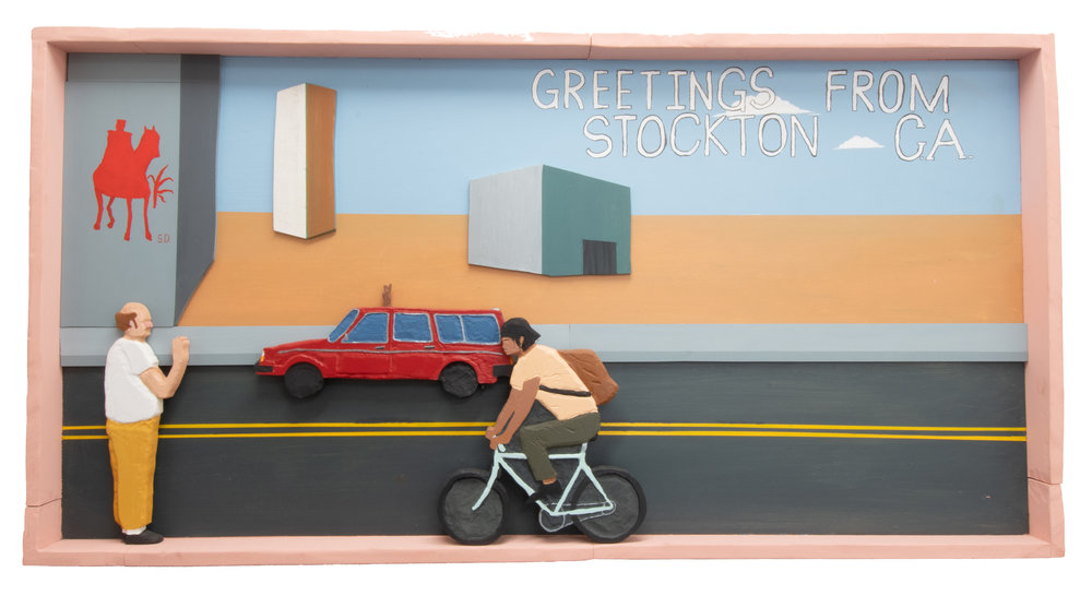 Postcard From Stockton,  2018, Acrylic, house paint, and wood carving on wood panel, 26.5 x 50 x 2.5 inches