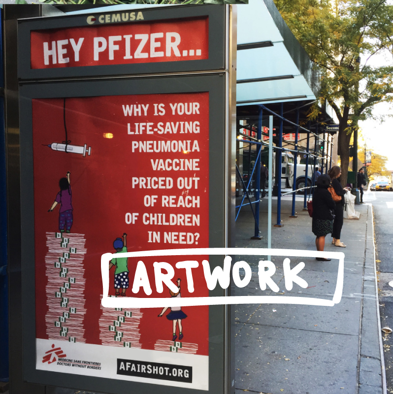 Bus ad outside of Pfizer HQ in NYC Illustration