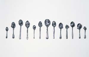 4 Michelle Nikou: In the evening there is feeling by ELLE FREAK Michelle Nikou, Spoons, 2000, cast lead, 22 x 72 x 4cm (approx.); image courtesy the artist and Darren Knight Gallery, Sydney