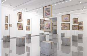 5 On the edge of the unknown: 'Believe not every spirit, but try the spirits': JENNY MCFARLANE    Believe not every spirit, but try the spirits , 2015, exhibition view with Georgiana Houghton watercolours, Monash University Museum of Art, Melbourne; image courtesy the Victorian Spiritualists' Union; photo: Zan Wimberley