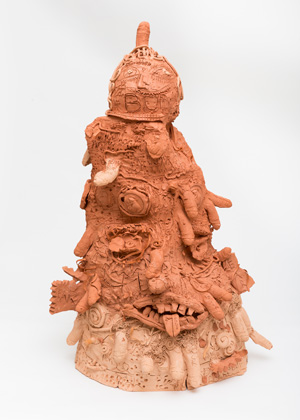 4 Ramesh Mario Nithiyendran: Clay iconoclast by Tess Allas Ramesh Mario Nithiyendran, Idol, 2014, red terracotta, 89 x 60 x 46cm; image courtesy the artist and Gallery 9, Sydney; photo: Simon Hewson