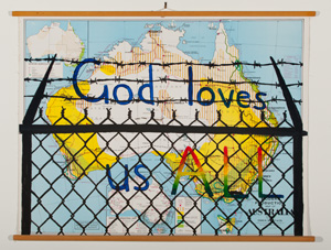 1 Asian Australian engagement: A digest: Jasmin Stephens,  Sydney    Tony Garifalakis and Richard Lewer,  God loves us all , 2012, acrylic on found map, 90 x 110cm; exhibited in 'Yonder', curated by Jasmin Stephens, Perth Institute of Contemporary Arts, Perth, 2012; image courtesy the artists and Hugo Michell Gallery, Adelaide (Garifalakis and Lewer), Sullivan+Strumpf, Sydney (Lewer), Gow Langsford Gallery, Auckland (Lewer); photo: Andrew Curtis