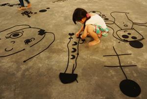 3 Present tense: The 2015 Jakarta Biennale: Vera Mey,  Singapore    Peter Robinson,  Syntax System , 2015, installation view, Jakarta Biennale, 2015; die-cut felt, 1000 x 1000 x 30cm; documentation: Jakarta Biennale & 301 Studio