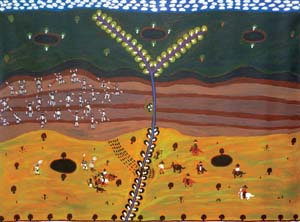10 Challenging Conspiracies of Silence with Art: Waralungku Arts, Borroloola, Northern Territory SEÁN KERINS Stewart Hoosan, Mayawagu —Freedom Fighter, 2013, acrylic on linen, 88 x 120cm; image courtesy the artist and Art Centre, Borroloola, NT