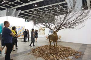01 '#madeforinstagram': Art Basel Hong Kong 2015 by Alison Kubler Image: MyeongBeom Kim's untitled deer taxidermy at Gallery IHN, Art Basel Hong Kong 2015; © Art Basel