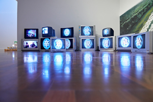 8 Signifiers of lost times: Chen Qiulin at SAM by Jacqui Durrant, Shepparton Chen Qiulin, One Hundred Names for Kwong Wah Chong, 2015, installation detail, Shepparton Art Museum, 2016; 25-channel video installation, mural, dimensions variable, commissioned by 4A Centre for Contemporary Asian Art, Sydney; © the artist; photo: Diana Spriggs