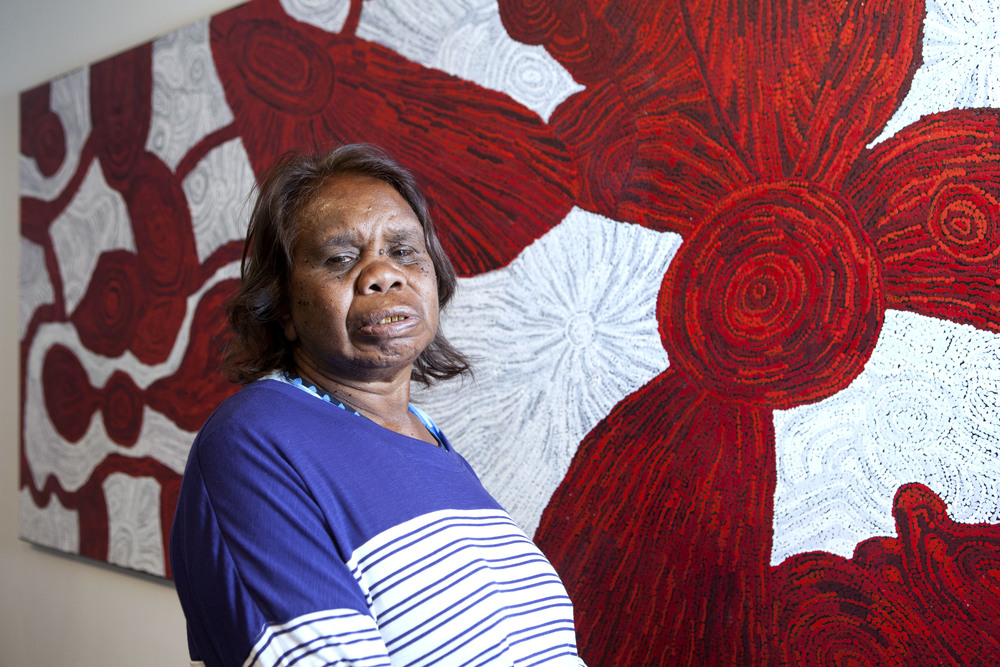 Betty Kuntiwa Pumani with her work which won the Telstra General Painting Award