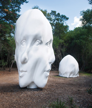 8 Sculpture in the bush: Surveying 'The McClelland' – Sasha Grishin Sonia Payes, Re:Generation, 2014, fibreglass, UV stable gelcoat; 3 elements: 500 x 230 x 230cm; 250 x 230 x 230cm; 125 x 230 x 23cm; image courtesy the artist and McClelland Sculpture Park & Gallery, Langwarrin; photo: Mark Ashkanasy