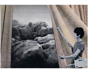 11 New beginnings: 'Pop to popism' – Juliana Engberg Martha Rosler, Cleaning the Drapes, from the series 'House Beautiful: Bringing the War Home', 1967–72, photomontage; courtesy the artist and Mitchell-Innes & Nash,  New York