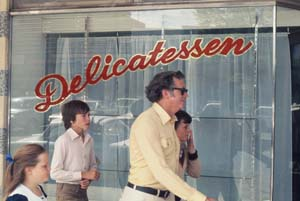 4 A meme on the Murray: Clive Murray-White   Kevin Mortensen,  Delicatessen , 1975, installation view, 6th Mildura Sculpture Triennial, 1975; (the work comprised a shop, several objects constructed by the artist hanging by hooks on railing, and an actor); photo: Ken Scarlett