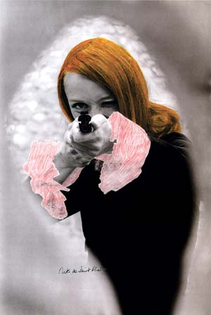 7 Notes from the north: Julie Ewington   Niki de Saint Phalle,  en train de viser , 1972, coloured black-and-white photograph from the film Daddy © Peter Whitehead
