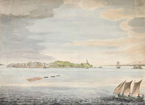 8 From Gould to the GEOcritical: Circumnavigating an island of art - GILLIAN MARSDEN Thomas James Lempriere (1796–1852), The Settlement, Macquarie Harbour, Van Diemen's Land, c. 1827–29, watercolour, pencil and ink, 31.6 x 43.5cm (sheet and image); collection of Tasmanian Museum and Art Gallery (TMAG), Hobart, purchased 1996; image courtesy TMAG, Hobart
