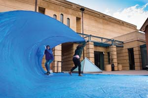 1 Making Opportunities: Art in South Australia: KELLI ROWE   Henry Jock Walker (assisted by Ben Leslie),  Tarp Surfing Drawing at the Art Gallery of South Australia , 'The Artists' Voice' forum, SALA Festival, Adelaide, August 2014; image courtesy the artist. photo: Che Chorley