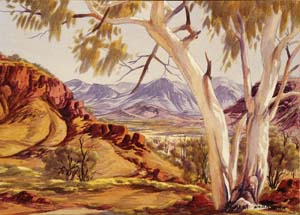 8 When the wind changed: 'Albert Namatjira' at the Araluen Arts Centre, Alice Springs, 1984 JOANNA MENDELSSOHN Albert Namatjira, Mt Hermannsburg, Finke River, c. 1948, watercolour, over pencil; 36.7 x 53.8cm (image), 37.2 x 54cm (sheet); National Gallery of Australia, Canberra, purchased 1977