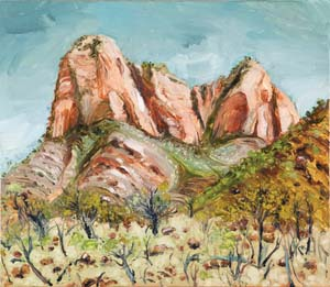 12 En plein air: artistic exchange at Ikuntji/Haasts Bluff CHRISCHONA SCHMIDT Peter Hudson, Haasts Bluff Landscape, 2013, oil on board, 45.7 x 53.2cm; image courtesy the artist