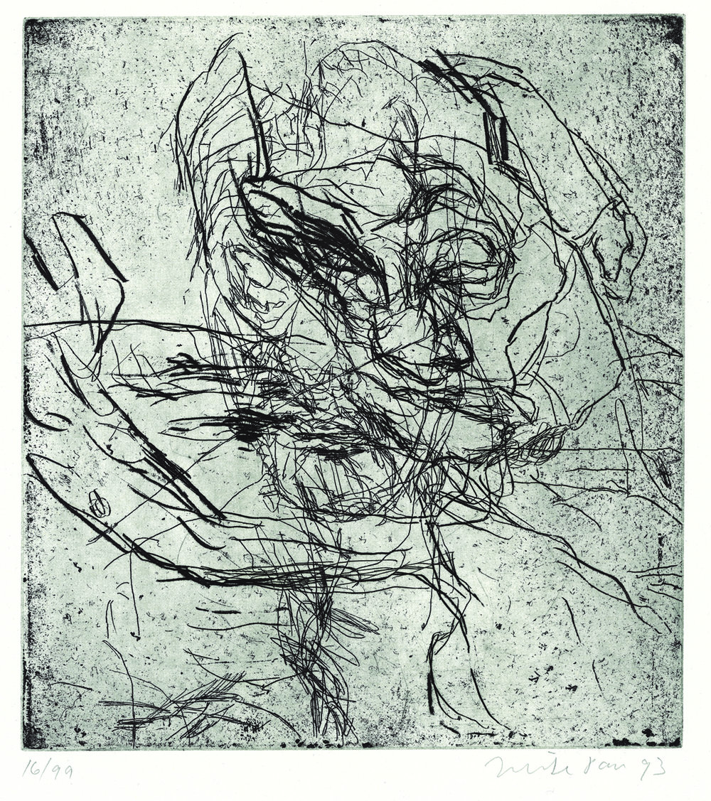 Mike Parr, The wind, 1993, etching, 28.1 x 25.7cm (print)
