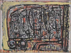 11 Ian Fairweather: Late Works 1953-1974 ANNE SANDERS Bus stop, 1965, gouache on cardboard on board, 72.5 x 97.5cm. All images this article of work by Ian Fairweather, from Collection: Queensland Art Gallery, Brisbane