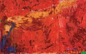 2 Jenny Watson: Here, there and everywhere   Jenny Watson , Australian artist in a bar in New York in the year 2016 , 1986, synthetic polymer paint, colour pigments, gouache and c ollage on cotton, 161.6 x 256.4cm; Collection: The University of Melbourne Art Collection; purchased with funds from the Visual Arts Board, Australia Council, 1987. Image courtesy the artist