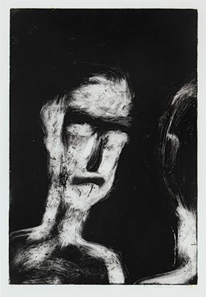 2 Quick, raw and physical: Franck Gohier's monoprints: Joanna Barrkman,  Darwin    Franck Gohier,  Self portrait 1 , 1991, monoprint, 50 x 34cm (print), 58.3 x 45.5cm (paper); Charles Darwin University (CDU) Art Collection, Darwin, acquired 1991; image courtesy the artist and CDU Art Collection and Art Gallery, Darwin