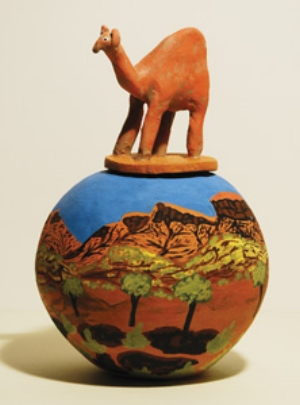 1 Pushing boundaries: 25 years of 'Desert Mob' by Christopher Raja Irene Mpetyane Entata, Camel, 1995, hand-coiled and modelled terracotta with applied underglazes, 20 x 13cm, Araluen Art Collection, Alice Springs