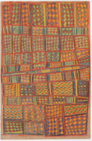 3 Beauty and the burial of difference: The Yirrkala drawings: Darren Jorgensen   Gumuk Gumana,  Dhalwangu freshwater at Gängan , 1947, crayon on brown paper, 155 x 74cm; Berndt Museum, The University of Western Australia, Perth; © the estate of the artist