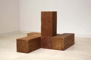 16 Close to Zero ADRIAN CLEMENT Carl André, The way north, south and west, (uncarved blocks), 1975, Western red cedar, 4 units: 30.5 x 30.5 x 91.5cm each, 91.5 x 1 22 x 152.5cm overall; copyright Carl Andrew, John Kaldor Family Gallery, Art Gallery of NSW