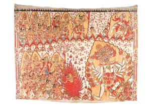 13 Kamasan Painting at the Australian Museum, and beyond SIOBHAN CAMPBELL      Artist unknown,  Smaradahana , c. 1925, natural pigment on cotton cloth. 166 x 132cm. Collection: The Forge Collection, Australian Museum. Photograph by Emma Furno.