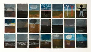 14 Whispered Landscapes of Jumaadi GINA FAIRLEY    Cakrawala  , 2011, gouache on paper, 18 x 12.5cm each / installation 37.5 x 126cm.