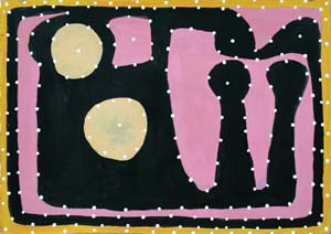 23 Outside history – Mick Jawalji and Ngarra QUENTIN SPRAGUE   Ngarra,  Guglarrt (Mount Hamilton) Bangorri-Bat Dream. Ngamanray , 2008, synthetic polymer paint on paper, 35 x 50cm.