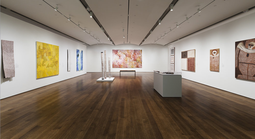 Everywhen: The Eternal Present in Indigenous Art from Australia, exhibition view of the Seasonality-themed gallery, Harvard Art Museums, 2016; image courtesy and © President and Fellows of Harvard College, Cambridge, Massachusetts; photo: Harvard Art Museums