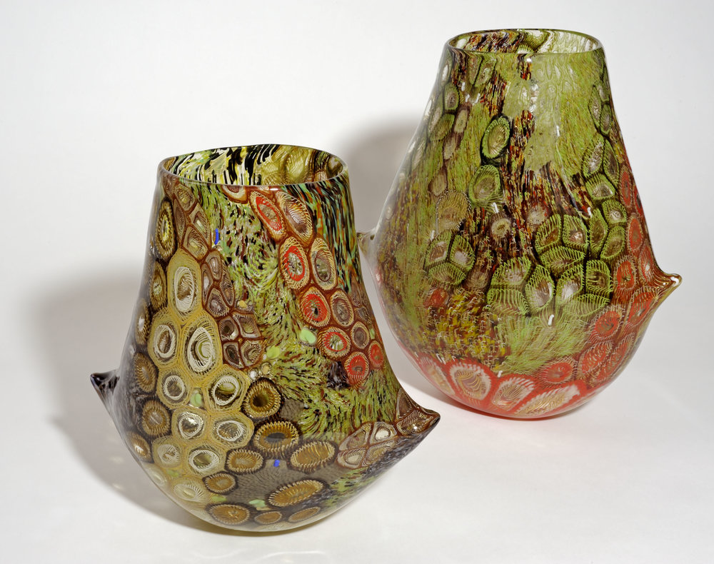 Highly Commended: Jenni Kemarre Martiniello,  Parachilna bicornual set , 2016, Hot blown glass with murrine; image courtesy the national archives of australia, canberra