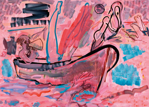 11 Bill Brown: a prisoner of the passage?, LAURA FISHER    Ship of Fools I , 2007, acrylic and gouache on canvas, 153 x 215cm.Images courtesy Bill Brown and Wilson Street Gallery, Sydney