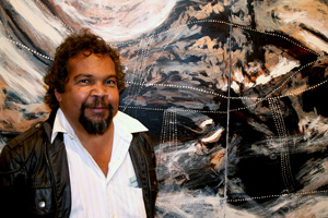 9 Shane Pickett 1957–2010: HENRY SKERRITT   Shane Pickett at the opening of his exhibition Shane Pickett: Art and Healing, Mossenson Galleries, Collingwood, October 2008. Image courtesy Mossenson Galleries