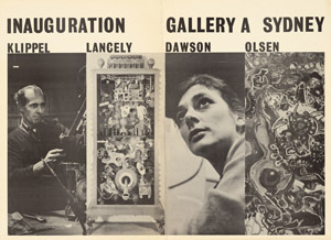 7 Gallery A Sydney 1964–1983 DAVID PESTORIUS Poster for the inauguration of Gallery A Sydney, 1964. Gallery A Sydney archive.