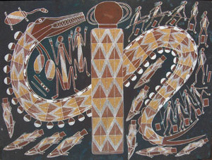 6 Obituary: Bruce Nabegeyo c. 1949-2009   Bruce Nabegeyo, Yingana Rainbow Serpent at Nimbuwah, 2004, ochres on arches paper. Image courtesy of Injalak Arts.