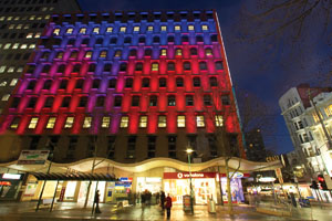 13 Light Years: Alexander Knox, Maxims of Behaviour KATE ADAMS Alexander Knox, Maxims of Behaviour, permanent seasonal winter installation launched in 2008, film, animation and lights on Royal Mail House Building, Melbourne CBD. Commissioned by the City of Melbourne. Image courtesy the artist and City of Melbourne. Photograph by Greg Sims.
