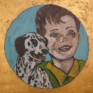6 Bromley in Alice: CHRIS RAJA   Image: David Bromley,  Man's best friend,  1999, acrylic on linen, 101 x 101cm