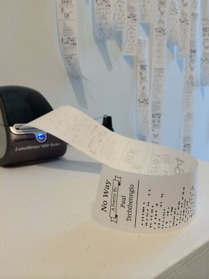 5. Textual poetics in this small corner, Caren Florance,  Canberra    Geoff Hinchcliffe, DaDa Visualisation, 2014, thermal receipt printer, paper, website, dimensions variable; image courtesy the artist