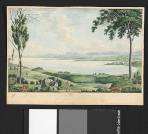 8. Driving around bad water, Rowan Conroy,  Canberra    Joseph Lycett, View of Lake George, New South Wales, from the North East, c.1820, watercolour, 20.7 x 28.6cm; Australian National Library, Canberra, PIC Drawer 762 #R8736