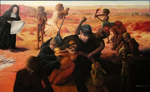 Harold Joseph Thomas (Bundoo), Tribal abduction, 2016, synthetic polymer paint on canvas, 134 x 214cm; image courtesy the artist and the Museum and Art Gallery of the Northern Territory (MAGNT), Darwin