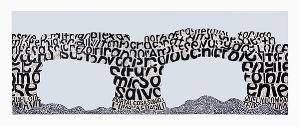 Angela Cavalieri, Il Ritorno, 2015, hand-printed linocut, acrylic and oil paint on canvas, 180 x 415cm; image courtesy the artist; photo: Greg Wallis
