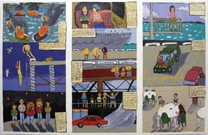 4 Confessions of a boot scooter: The Togart Contemporary Art Award (NT): MAURICE O'RIORDAN,  Darwin    Chayni Henry,  Stories from the city, stories from the sea,  2007, acrylic on board