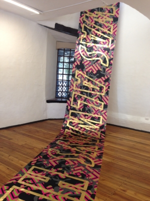 4 'Frágil': An Australian art exhibition in Ecuador: En Young Ahn,  Cuenca    Reko Rennie,  I was always here , 2016, installation view, 'FrÁgil', Salón de Pueblo, Cuenca, 2016; synthetic polymer, metallic foil and binder on linen, 1000 x 120cm; photo: En Young Ahn