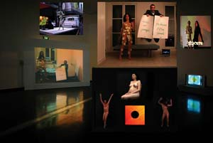 6 Increase your uncertainty: A Constructed World in Melbourne NATALIE KING   A Constructed World, stills from DVDs screened in the 'dance room'. Clockwise from top left:  Truck dance,  2007,  Eye burn,  2006 (with choreographer João Saldanha),  Sincere (death dance),  2005,  Big dirty death drive , 2006-07 (soundtrack by Ali Perret),  Ecstatic Torino , 2004. Courtesy of Uplands Gallery, Melbourne.