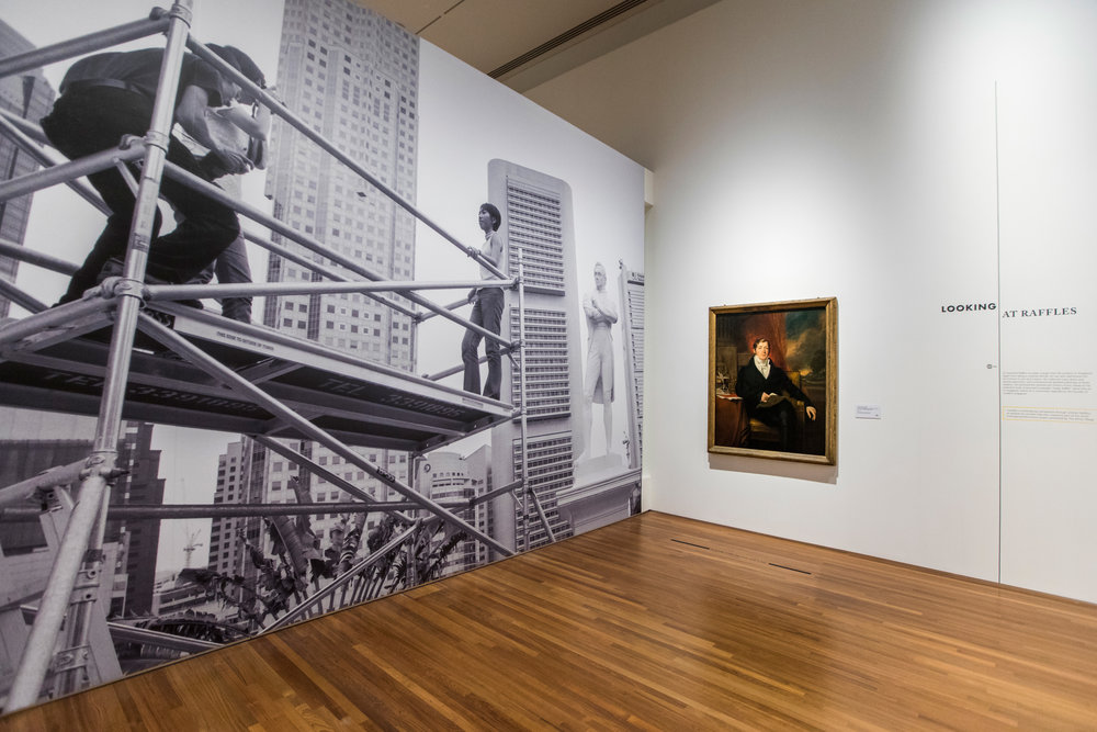 Artist and Empire: (En)countering Colonial Legacies, exhibition install view featuring the work of Lee Wen (left) and George Francis Joseph; image courtesy the National Gallery Singapore