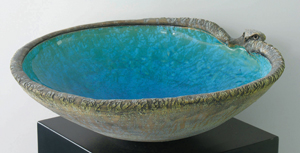 7 New Zealand pays Tribute at the Auckland Art Gallery: ANDREW CLIFFORD   Len Castle,  Bird-headed bowl,  c 1990, earthenware, alkaline copper glaze, textured exterior washed with grey pigment. Private collection, Auckland
